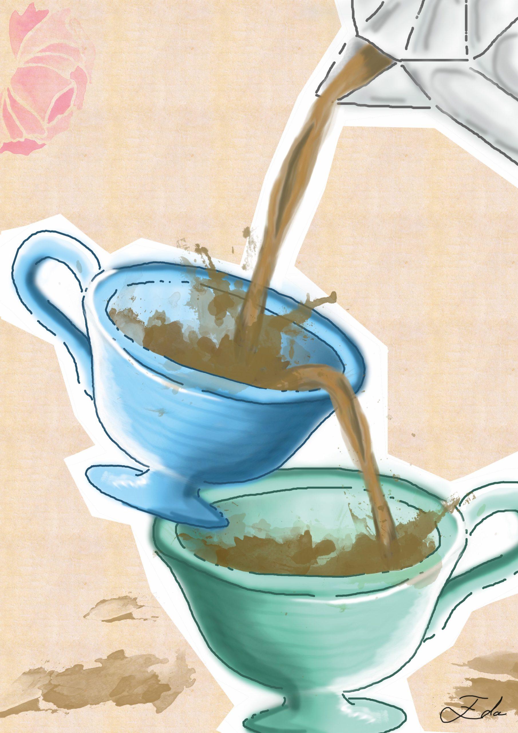 Zeichnung von zwei Kaffeetassen