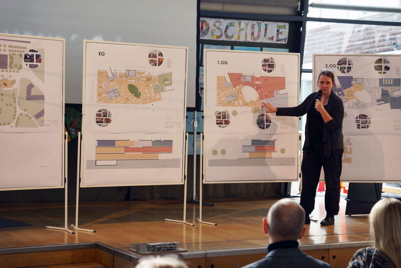 Architektin Barbara Rößner erläutert dem Plenum die Planskizzen an Stellwänden.